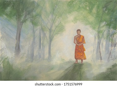 Acrylics painting of asian forest & walking Buddhist monk in orange robe. Hand drawn oriental style landscape with trees at sunrise. Concept for decoration, relax, restore, meditation background.