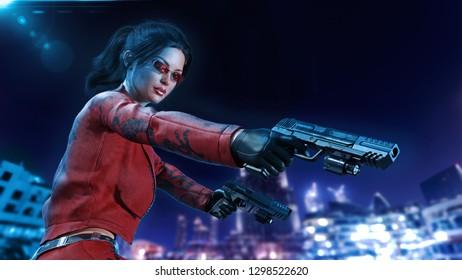 Action girl with guns, woman in red leather suit shooting hand weapons with night city in background, 3D rendering