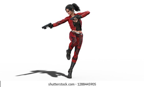 Action girl in jump shooting guns, woman in red leather suit with hand weapons isolated on white background, 3D rendering