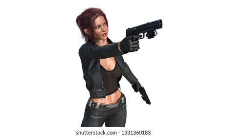 Action girl shooting guns, redhead woman in leather suit holding hand weapons on white background, 3D rendering