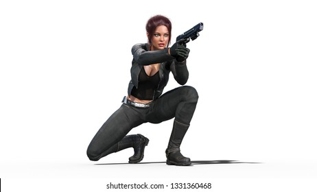 Action girl shooting guns, redhead woman in leather suit with hand weapons crouching on white background, 3D rendering