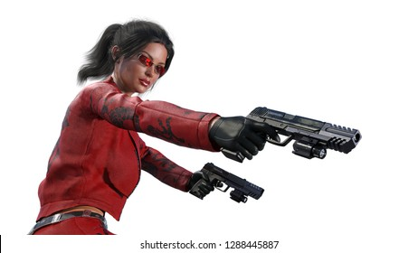 Action girl shooting guns, woman in red leather suit with hand weapons isolated on white background, close up view, 3D rendering