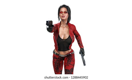 Action girl shooting guns, woman in red leather suit with hand weapons running on white background, front view, 3D rendering