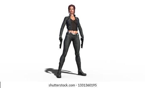Action girl standing with guns, redhead woman in leather suit with hand weapons isolated on white background, 3D rendering