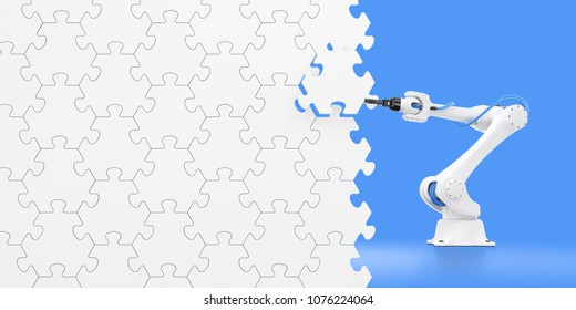 Action Show Of Robotic Manipulator. Mechanical arm of an industrial robot assembling wall from pieces of jigsaw puzzle. 3d rendering graphic composition on the subject of 'Industrial Robotics'.