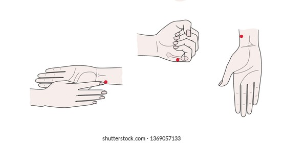 Active acupuncture points on the hands. Isolated on white background