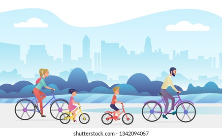 Active family outside vacation trip. Father, mother, daughter and son are riding bicycles in city park. Trendy gradient color  illustration.
