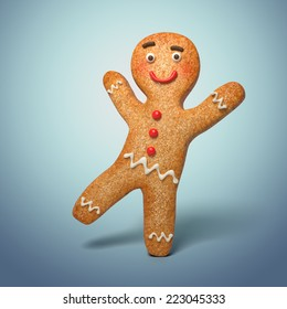 active gingerbread man illustration, 3d cookie cartoon character dancing
