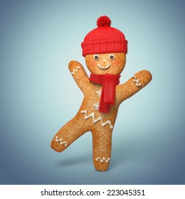 active gingerbread man illustration, 3d cookie cartoon character wearing knitted scarf and hat