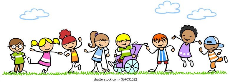 Active and handicapped cartoon kids playing together in nature