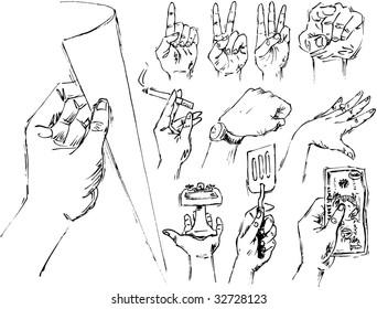 Active hands sketched in ink