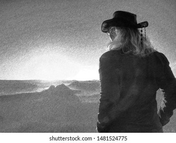 Active hiker hiking, enjoying the view, looking at mountains landscape.. Black and white dashed pencil sketch effect.