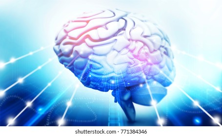 Active human brain. 3d illustration