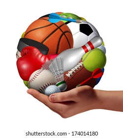 Active lifestyle concept and fun and games symbol with a hand holding a group of sports equipment shaped as a ball as a fitness metaphor offering physical activity recreation to youth as a pastime.