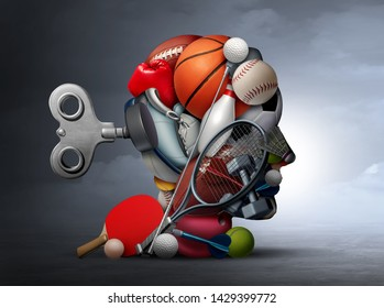 Active lifestyle and mental function or psychological benefits of sport and exercise as a group of sports equipment shaped as a human head for psychological health with 3D illustration elements.