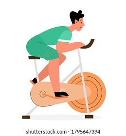 Active man rides at exercise stationery bike flat illustration concept. Bicycle young male doing spinning sport activities, home fitness healthy lifestyle concept