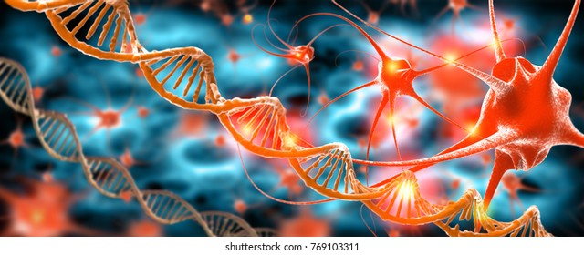 Active nerve cells and DNA, 3d rendering