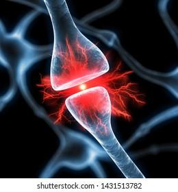 Active nerve cells synapses - 3D illustration