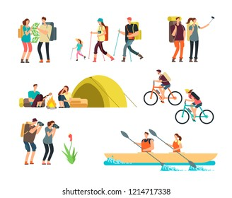 Active people hikers. Cartoon travelling family outdoor. Hiking and trekking tourists characters isolated