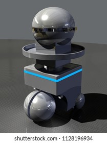 Active Self-Guiding Robot Servitor on Rubber Floor - 3D Illustration