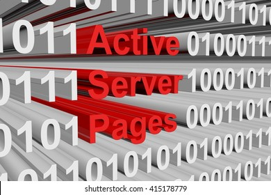 Active Server Pages in the form of binary code, 3D illustration