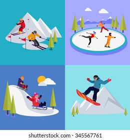 Active winter vacation extreme sports. Sledding and sking, skating and mountain, snow and recreation, travel outdoor, cold and holiday, snowboarder athlete illustration. Raster version