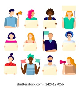 Activist holding placard. Protest active people, male and female hold poster and protesting activists. Manifestation picket, voting campaign protestors.  illustration isolated icons bundle