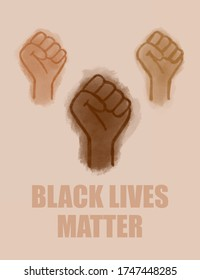 Activist illustrated poster. Hands of different colors making fists in the air for equality.