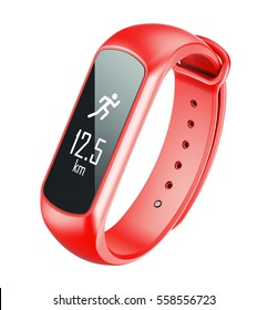 Activity bracelet, fitness tracker, smart watch, pedometer wristband. 3d illustration isolated on white background