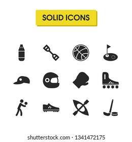 Activity icons set with hockey stick, espander, volleyball player elements. Set of activity icons and volley competition concept. Editable  elements for logo app UI design.