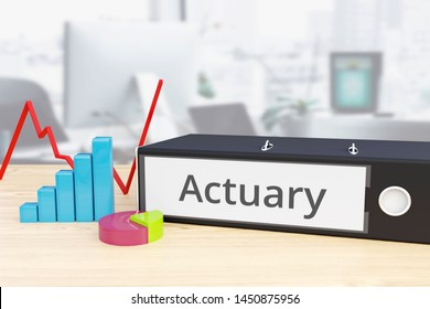 Actuary - Finance/Economy. Folder on desk with label beside diagrams. Business. 3d rendering