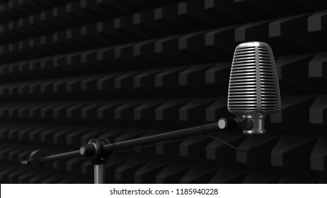 acuistic foam covered wall with condenser microphone. silent room concept. 3d illustration. suitable for music, audio, podcast and video record themes.