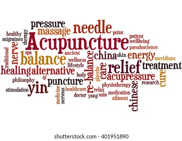 Acupuncture, word cloud concept on white background.