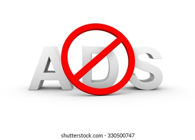 ad blockers ban white background 3d illustration