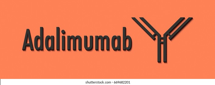 Adalimumab monoclonal antibody drug. Anti-inflammatory TNF-alpha inhibitor used in treatment of rheumatoid arthritis, psoriasis, ulcerative colitis, etc. Generic name and stylized antibody.