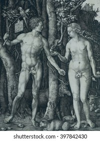Adam and Eve, by Albrecht Durer, 1504, German print, copper engraving. Eve has just taken the forbidden fruit from the serpent
