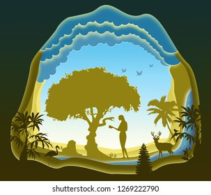 Adam and Eve. Garden of Eden. The Fall of Man. Paper art. Abstract, illustration, minimalism.