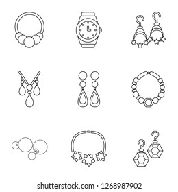 Adamantine icons set. Outline set of 9 adamantine icons for web isolated on white background