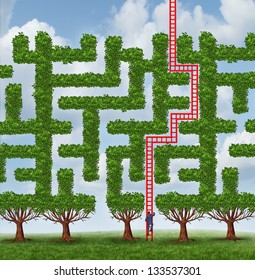 Adapt to change and finding creative solutions to difficult growing challenges as a group of trees as a maze or labyrinth and a businessman climbing a red ladder shaped as the solution to success.