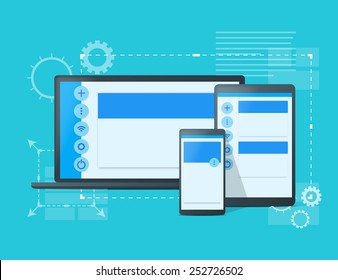 Adaptive design concept. Responsive design of phone, tablet and laptop. Material design