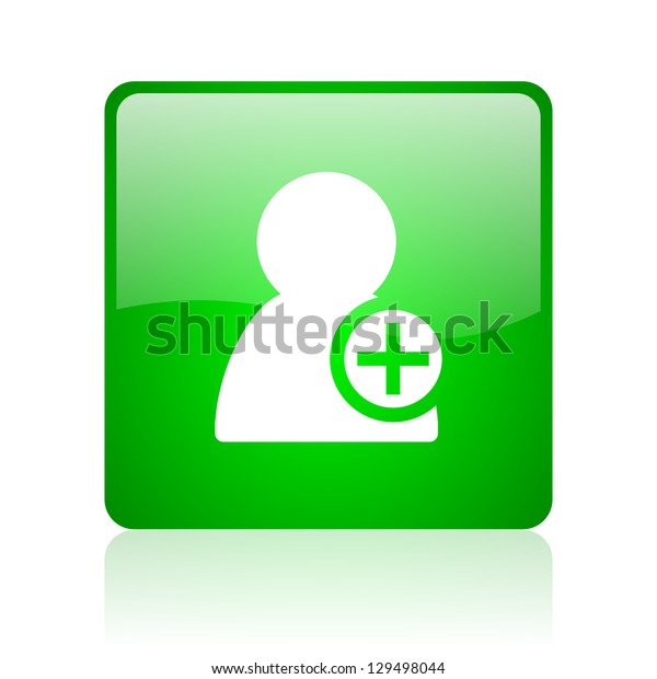 add contact green square web icon on white background