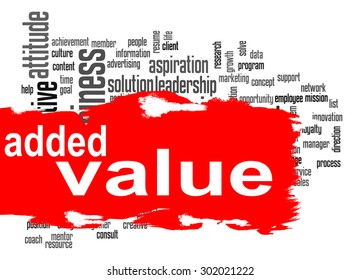 Added Value word cloud with red banner image with hi-res rendered artwork that could be used for any graphic design.