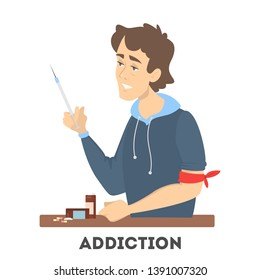 Addiction to the drug. Sick junkie with a syringe and medical pills. Health danger.  illustration in cartoon style.