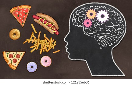 Addiction illustrated with Fast Food and Brain Activity in classic drawing Style on Brown Blackboard