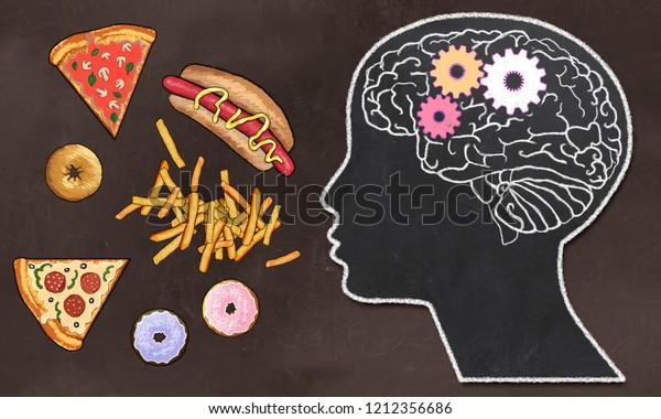 Addiction illustrée par Fast Food et Brain Activity dans un dessin classique Style on Brown Blackboard