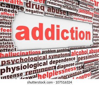 Addiction message design. Substance or drug dependence conceptual design