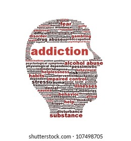 Addiction symbol isolated on white background. Substance or drug dependence conceptual design