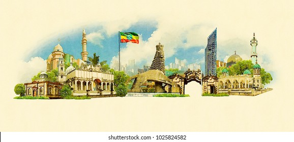 ADDIS ABABA city colored watercolor painting illustration