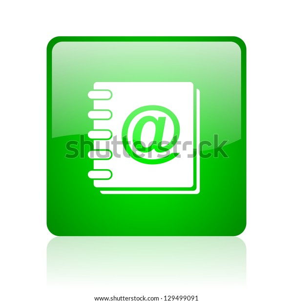 address book green square web icon on white background