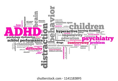 ADHD - Attention deficit hyperactivity disorder. Education problem. Word cloud sign.